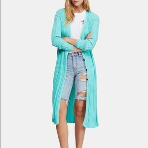 {Free People} Long Ribbed Duster Sweater